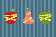 Fruits with yellow measuring tape on stripe backgrounds,Vector illustrations Stock Image