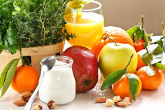 Fruits and yoghurt. Stock Image