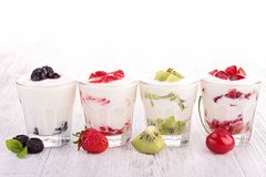 Fruits yogurt Stock Photo