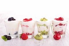 Fruits yogurt Stock Photo