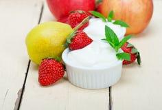 Fruits and yogurt Royalty Free Stock Photo