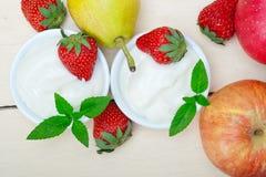 Fruits and yogurt Royalty Free Stock Image