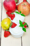 Fruits and yogurt Stock Photos