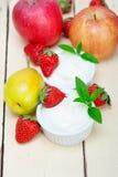 Fruits and yogurt Stock Photos