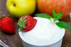 Fruits and yogurt Stock Photo