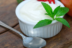 Fruits and yogurt Royalty Free Stock Images