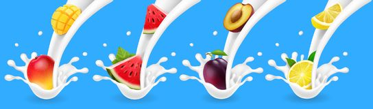 Fruits in yogurt or milk flow. Realistic illustrationset with mango, plum, watermelon. And lemon Stock Images