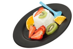 Fruits yogurt Stock Photos