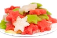 Fruitsalade met meloen, watermeloen en kiwi Royalty-vrije Stock Foto's