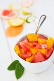 Fruitsalade met sinaasappelen en grapefruits in een kom Royalty-vrije Stock Afbeeldingen