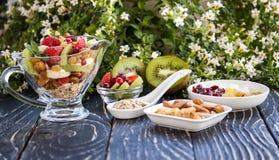 Fruitsaladeclose-up met bessen, yoghurt en granola in een glasboog Stock Foto