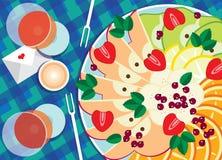 Fruitschotel met wijn Royalty-vrije Stock Afbeelding