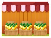 Fruitstand продавая ананасы с пустыми шильдиками Стоковая Фотография
