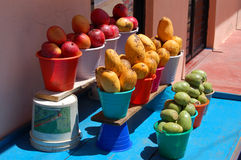 Fruitstand. Showing mangoes and tuna in Chiapas, Mexico royalty free stock photo
