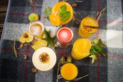 Fruittheeën met alcoholische cocktails stock afbeeldingen