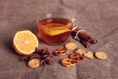 Fruitthee met kruiden en koekjes Stock Fotografie