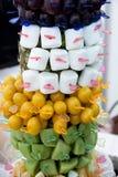 Fruitvleespennen op stokken van vierkante vorm close-up op heerlijke fru Stock Foto's