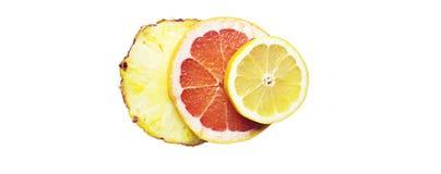 Fruity состав сделанный с кусками лимона, ананаса и gapefruit Стоковые Изображения RF