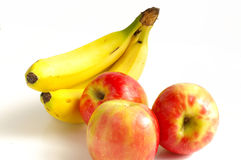Fruity. Bananas and apples stock images