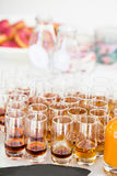 Fruity apertifs. Closeup of glasses of fruity flavoured apertifs Royalty Free Stock Images