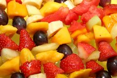 Fruity Background. Several fruit kebabs for background Royalty Free Stock Image