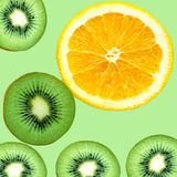 Fruity background set of slices of orange fruit and kiwi Royalty Free Stock Photos