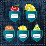 Fruity Banners. Original fruity banners like jeans pockets for your design. Vector illustration Stock Image