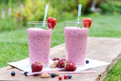Fruity berry milkshake outdoors Stock Photography