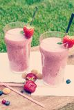 Fruity berry milkshake outdoors Royalty Free Stock Image