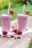 Fruity berry milkshake outdoors Royalty Free Stock Photo