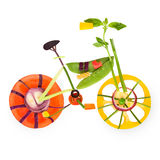 Fruity bicycle. Fruits and vegetables in the shape of a bicycle in detail stock illustration