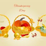 Fruity border seamless background with fruit in a wicker basket healthy food  Thanksgiving Day vintage vector illustration  for us Stock Photo