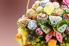 Fruity bouquet. With candy and salad Royalty Free Stock Image