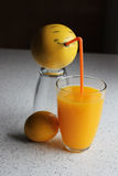 Fruity cannibal. Grapefruit with a face drinking juice Stock Images