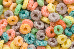 Fruity cereal. A close up of some very colorful, sugary cereal. High amounts of detail stock photo