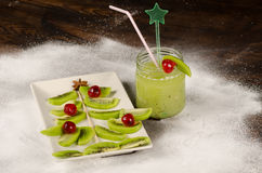 Fruity Christmas dessert. Fresh and fruity Christmas tree, a festive kid dessert royalty free stock photography