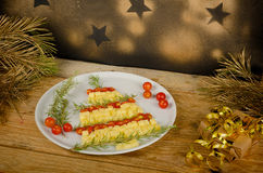 Fruity Christmas tree appetizer stock photography