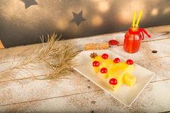 Fruity Christmas tree dessert Royalty Free Stock Image