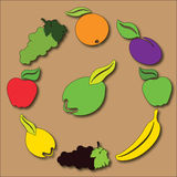 Fruity circle. Circle Composition of Popular Fruits Stock Image