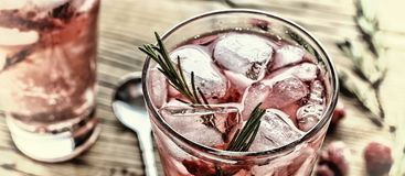 Fruity cocktail drink decorated with frozen raspberry. Fruity cocktail drink decorated with frozen or fresh raspberry, strawberry, rosemary, ice and soda Stock Image