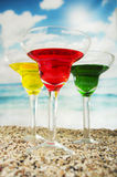 Fruity cocktails in the beach Stock Images