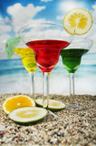 Fruity cocktails in the beach Royalty Free Stock Photo