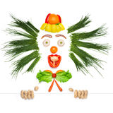Fruity and crazy. A creative food concept of a crazy clown made of vegetables and fruits in a kids menu Royalty Free Stock Photo