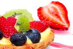 Fruity custard tart close up Royalty Free Stock Photos