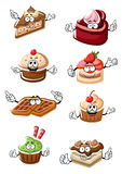 Fruity desserts, cakes, cupcakes and waffles. Cartoon delicious funny fruity desserts, chocolate cake slices, cupcakes and belgium waffles characters with fresh stock illustration