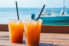 Fruity Drinks. By the Ocean Royalty Free Stock Photos