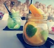 Fruity drinks on Sardinia royalty free stock photography