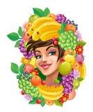 Fruity girl. On a white background stock illustration