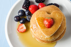 Fruity Heart Topped Pancakes Stock Photo