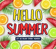 Fruity Hello Summer Poster with Palm Tree Leaves, Watermelon, Orange, Lime and Lemon in White Wooden Background Stock Photography